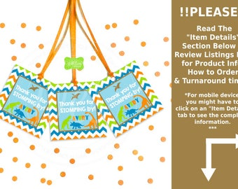 Dinosaur Favor Tags - Dinosaur Favor Stickers - Chevron Tags - Chevron Stickers - Dinosaur Gift Tag - Digital & Printed Available