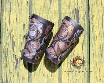 Leather bracers, Viking- HALF LENGTH celtic horse cut-out design
