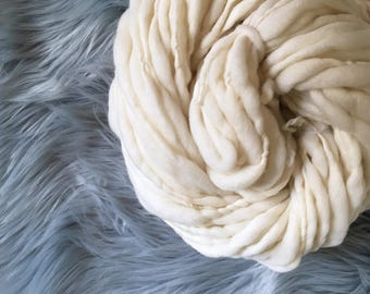 MADE TO ORDER Antler // Merino Wool, Handspun Thick & Thin Chunky Yarn, 2-5 oz, Chunky Yarn, Natural Undyed Ivory White Yarn, Cruelty Free