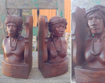 "Fantastic Unique PAIR of Vintage Carved Hard Wood Tribal Island MAN & WOMAN Bookends measuring 9 1/4"" x 5"" x 4 1/4"" Each ~ Boho Home Decor ~"