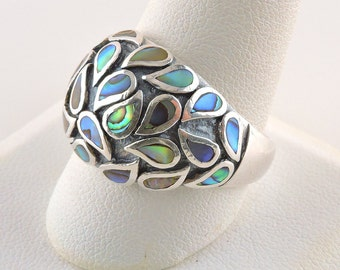 Size 11 Sterling Silver Abalone Teardrops Dome Ring