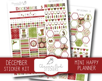 December Planner Stickers, Sticker Kit, Planner Stickers, Mini Happy Planner Stickers