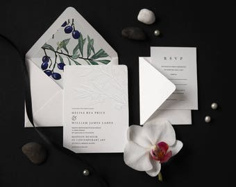 Embossing Modern Floral Olive Italian Wedding Invitation, Watercolor Olive Modern Blind Press Minimal Invite, Italy Destination Wedding 41