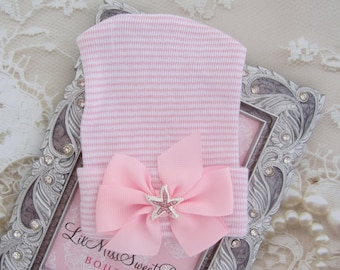 Starfish Pink Striped Baby Hospital Hat, newborn, teenie, beanie, infant take home outfit, bebe, foto, newborn photos, by Lil Miss Sweet Pea