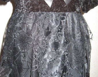 New Witchy Baby Girls Black Web,Spiders Lace Petal Top/Dress,Headband set,Goth,Gift sequoia