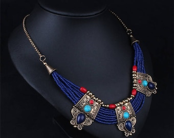 Retro Turquoise Coral Blue Bead Tibetan Necklace Lapis Lazuli Stone Unique Chain