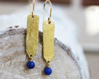 lapis gold earrings, indigo brass jewelry hammered spike, rustic boho tribal