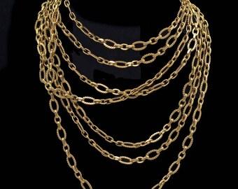 Antique Victorian Nouveau Long Chain Necklace 18k Gold French Sautoir (#6316)