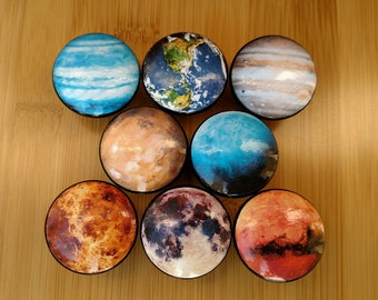 Planets Wood Drawer Knobs on Cherry Wood Knobs size 1.5  Space Outer Space Wood Drawer Pull