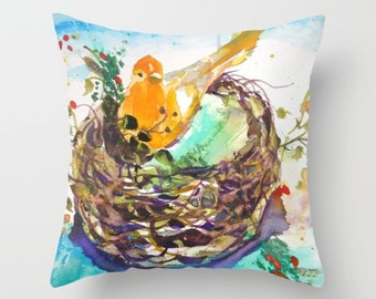 Indoor pillow cover with pillow insert, Decorative Throw Pillow Cover, Watercolor of yellow bird