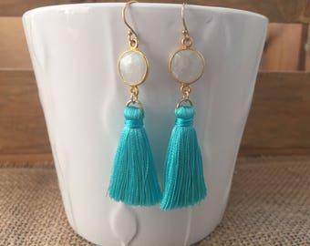 Moonstone and silk tassle earrings/gemstone and silk tassle earrings/gemstone earrings/tassle earrings
