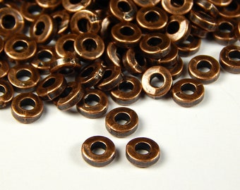 40 Pcs - 6x2mm Copper Metal Spacer Beads - Donut Spacer - Heishi - Spacer Beads - Jewelry Supplies