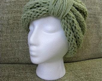 Unique Chunky Knit Olive Green Headband Turban