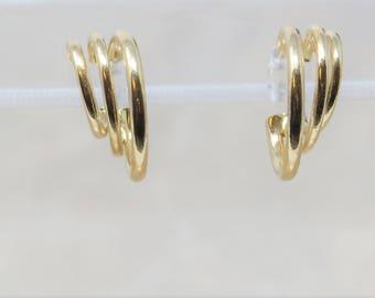 Real Gold Hoops, 14k Gold Hoop Earrings, Vintage 14k earrings, Triple Hoop Earrings, Fine Jewelry Gold