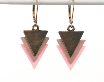 Rosa earrings - leather taupe, pink and gold metal - Agathe and Ana