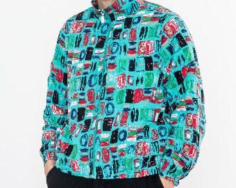90s Vintage Bright Blue Squares Print Bomber Jacket