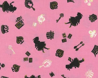 """Silhouette of Alice PINK 100% Cotton ~ 42"""" Wide ~ Sold by the Yard"""