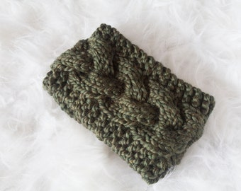 Moss Braided Cable Ear Warmer Headband
