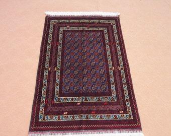 Size:4.3 ft by 2.7 Handmade Rug Afghan Turkomen Blue Small Bukhara Carpet