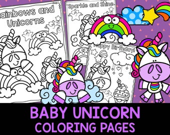 Baby Unicorn Coloring Pages - The Crayon Crowd, unicorns, birthday, party, party favors, Coloring book, Sheets, kids, pdf