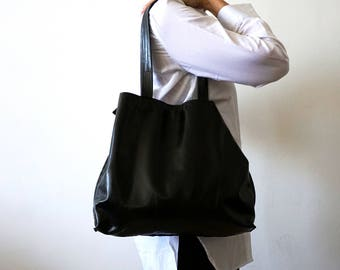 Black Leather tote bag - Shoulder Bag -Every day leather bag - Women bag