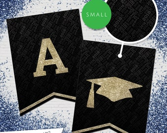 Small Black & Gold Glitter 2018 Printable Banner  |  All Letters 0-9 numbers  |  Graduation, Birthday, Congratulations, Anniversary