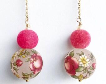 Pink floral drop earrings