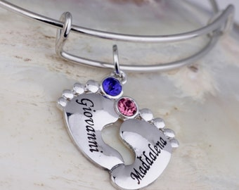 Personalized Baby Feet, Name Bracelet, Silver Women's Bangle, Engraved Handwriting - With Birthstones - Letter Bracelet - Newborn Bracelet