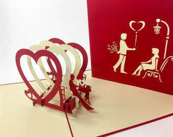 Triple Heart - Pop Up Card - Anniversary Card - Love Card - Greeting Card - I Love You Card - Valentines Day Card