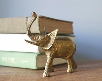 Vintage Brass Elephant Figurine | Lucky Trunk Up Elephant | Nursery Decor