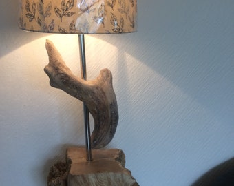 Large driftwood table lamp , driftwood sculpture lamp 60 cms