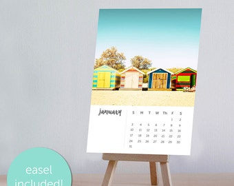 2018 calendar desk calendar beach decor calendar with easel calendar with stand beach calendar 2018 desk calendar nautical decor coastal