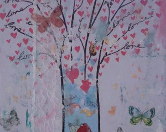 FREE SHIPPING,love tree painting,Tree of Love wall art,Original love, Valentines day,Canvas love art, Butterflies Wall Art,Mixed Media Art