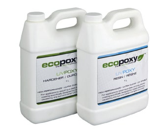 Ecopoxy UV. 2 Litre You have found a safe, Environmentally Friendly, Low Odor, Plant based Epoxy. Needs no ventilation. Casting resin.