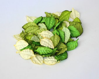 50 pcs - Mulberry paper leaves - Mixed green colors -2.5 x 4 cm (1 x 1/2 inch)
