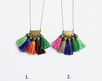 Boho Tassel Necklace, Long Colorful Necklace, Fringe Ethnic Necklace