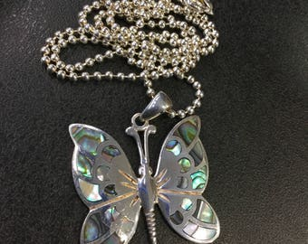 Silver abalone butterfly pendant on ball chain