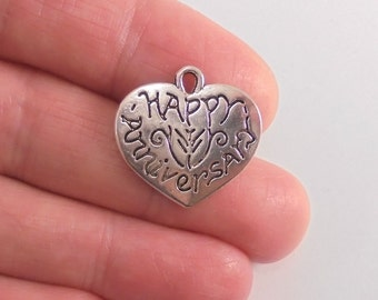 8 Happy Anniversary Heart charms, 21x11mm, antique silver finish