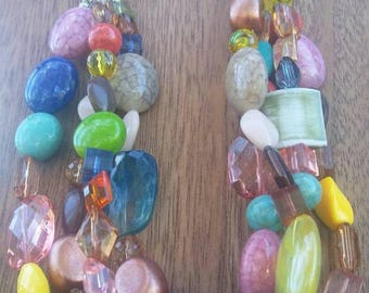 Four Strand Multi-beaded Chain necklace