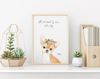 Personalized pet portrait, Chihuahua Wall Art 8x10, Dog portrait. Pet portrait, Dog lover. Dog art, dog friend, dog gift