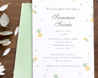 Summer Soiree, Birthday Party, Pineapple, Invite, Invitation, Card, Mother's Day, Bridal Shower, Wedding Weekend