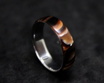 the colors of gold and fire steel ring