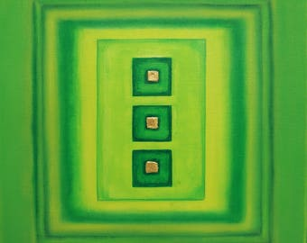 Abstract modern - green and gold - painting acrylic on canvas and mixed media - square Format 40 cm x 40 cm - artist Creation