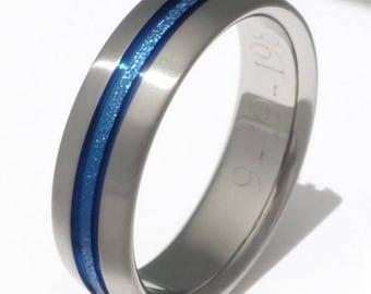 Blue Titanium Wedding Band - Thin Blue Line Ring - Custom Frosted Finish - b16