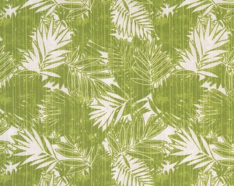 Tropical Green Palm Fronds Outdoor Indoor Fabric by the Yard Designer Easy Care Drapery Curtain Upholstery or Craft Fabric M166