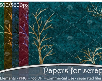 Scrapbooking paper, background scrap, nature, tree, setting, printable