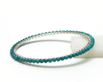 Genuine Turquoise Bracelet - Sterling Silver Wire Wrapped, Silver Plated Bangle - Handmade Turquoise Jewelry - December Birthstone Jewelry