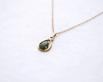 Vintage 12K Yellow Gold Filled Necklace with Green Jade Teardrop Pendant - Minimal