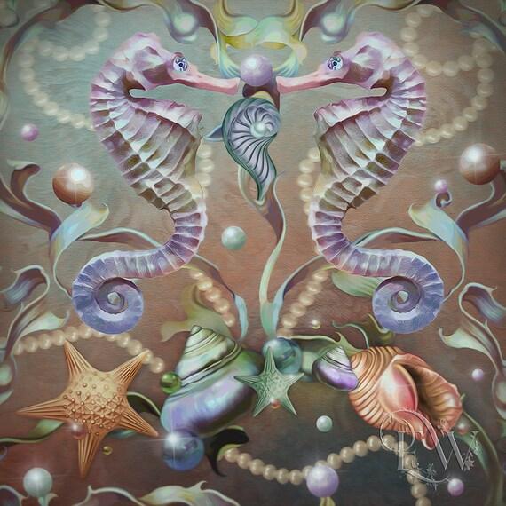 whimsical Seahorse and seashells art print