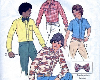 "Boy's Shirt And Bow Tie - 1970s - Vintage Sewing Pattern - Simplicity 6738 - Chest 28"" 30"" - Supplies"